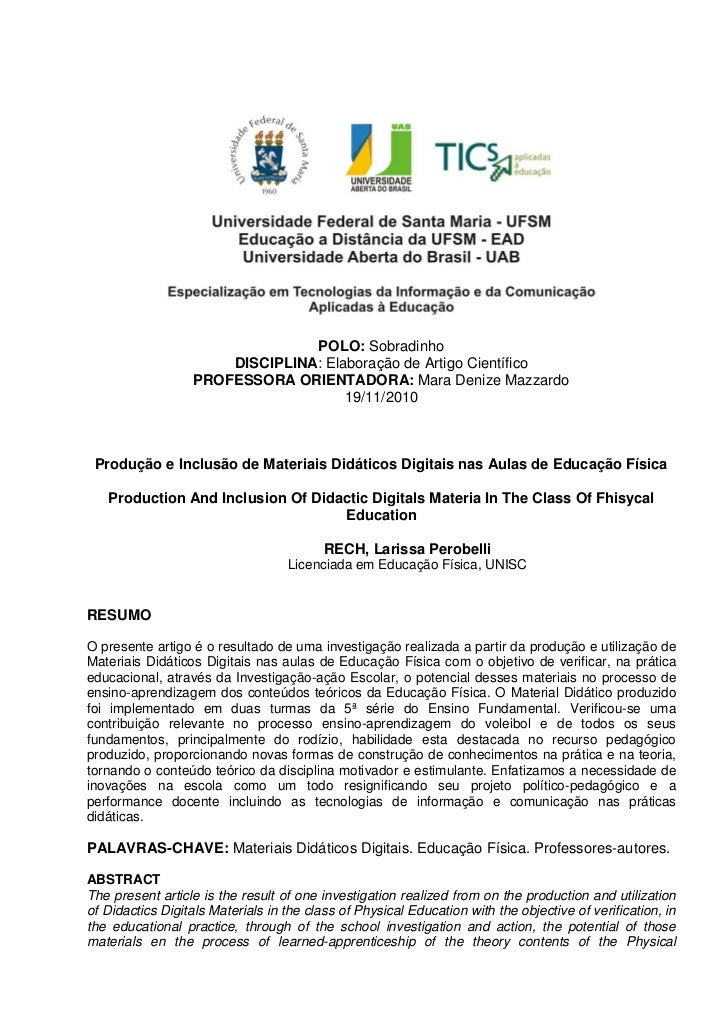POLO: Sobradinho                      DISCIPLINA: Elaboração de Artigo Científico                  PROFESSORA ORIENTADORA:...