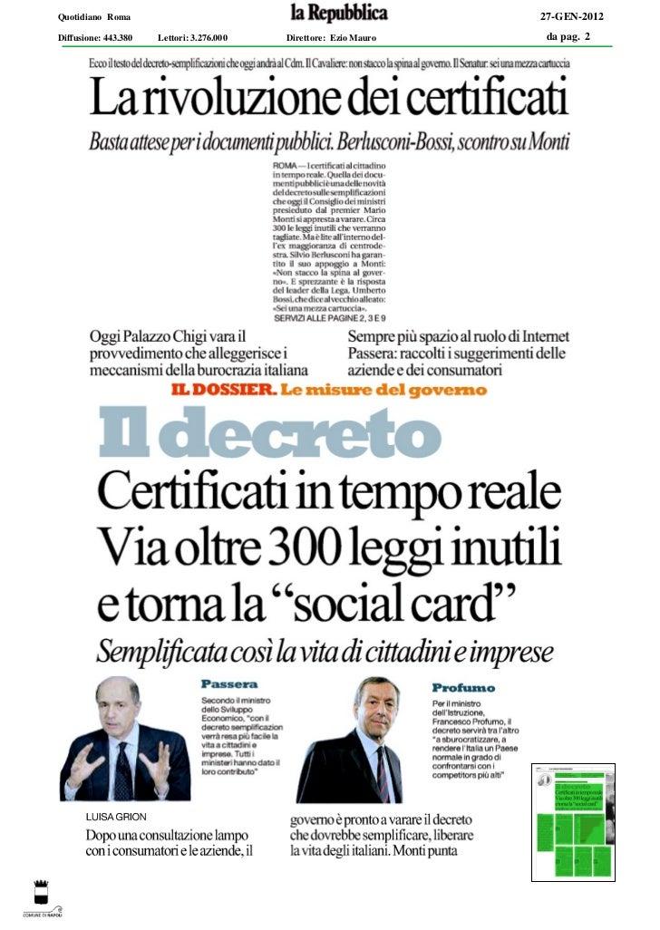 Quotidiano Roma                                                    27-GEN-2012Diffusione: 443.380   Lettori: 3.276.000   D...