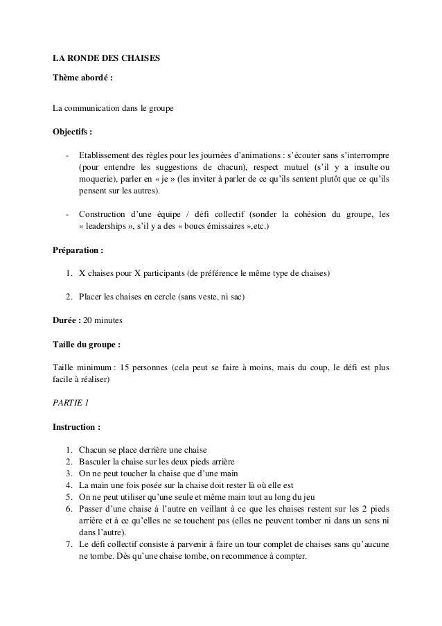 LA RONDE DES CHAISESThème abordé :La communication dans le groupeObjectifs :   -    Etablissement des règles pour les jour...