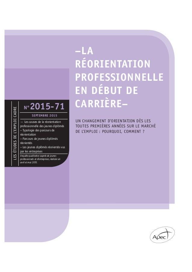 LESÉTUDESDEL'EMPLOICADRE –LA RÉORIENTATION PROFESSIONNELLE EN DÉBUT DE CARRIÈRE– UN CHANGEMENT D'ORIENTATION DÈS LES TOUTE...