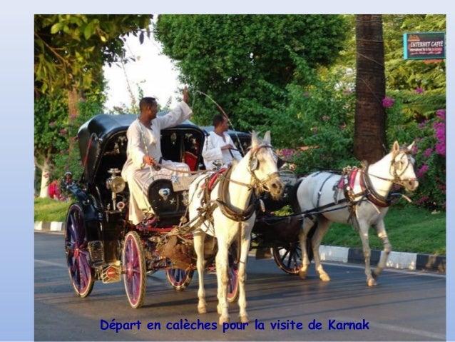 Départ en calèches pour la visite de Karnak