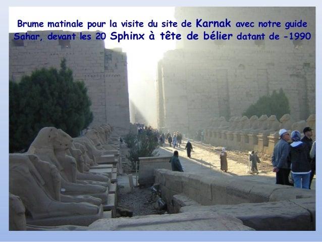 Brume matinale pour la visite du site de Karnak avec notre guideSahar, devant les 20 Sphinx à tête de bélier datant de -1990
