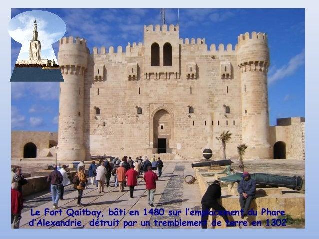 Le Fort Qaitbay, bâti en 1480 sur l'emplacement du Phared'Alexandrie, détruit par un tremblement de terre en 1302