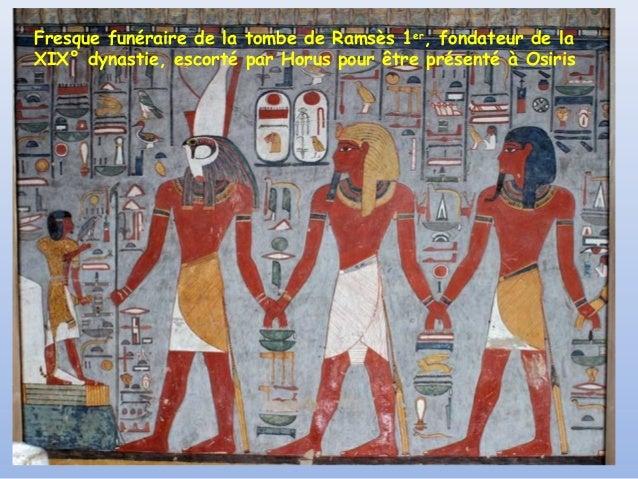 Fresque funéraire de la tombe de Ramsès 1er, fondateur de laXIX° dynastie, escorté par Horus pour être présenté à Osiris