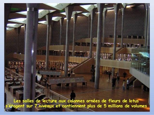 Les salles de lecture aux colonnes ornées de fleurs de lotuss'étagent sur 7 niveaux et contiennent plus de 5 millions de v...