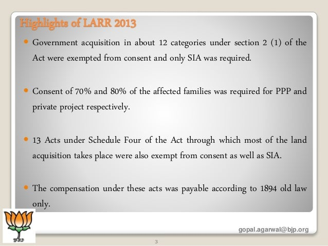 land acquisition and rehabilitation and resettlement Recently , article 10(a) of land acquisition , rehabilitation and resettlement act , 2013 was amended by an ordinance i think that the two major changes that were made are - removal of consent clause and social impact assessment now gover.