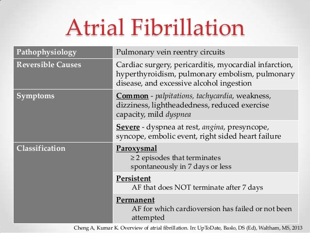causes of afib Atrial fibrillation (af or afib) is the most common irregular heart rhythm that starts in the atria instead of the sa node (sinus node) directing the electrical rhythm, many different impulses rapidly fire at once, causing a very fast, chaotic rhythm in the atria.