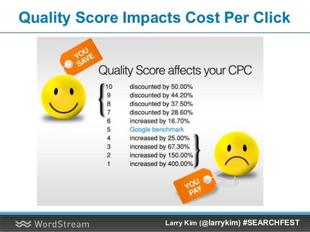 Quality Score Impacts Cost Per Click Larry Kim (@larrykim) #SEARCHFEST