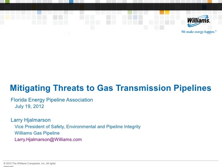 Mitigating Threats to Gas Transmission Pipelines      Florida Energy Pipeline Association         July 19, 2012      Larry...