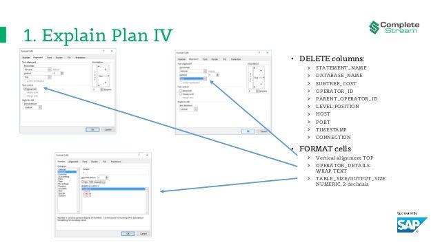 1. Explain Plan IV • DELETE columns: STATEMENT_NAME DATABASE_NAME SUBTREE_COST OPERATOR_ID PARENT_OPERATOR_ID LEVEL;POSITI...