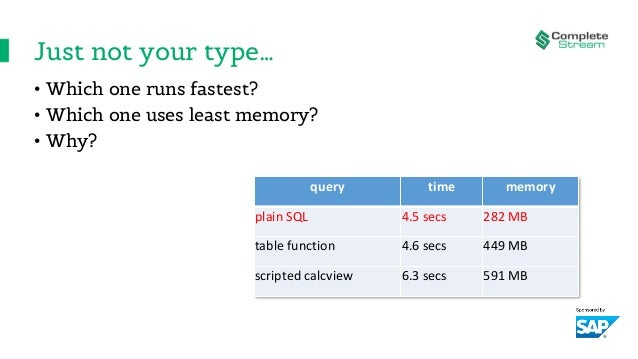 Just not your type… • Which one runs fastest? • Which one uses least memory? • Why? query time memory plain SQL 4.5 secs 2...