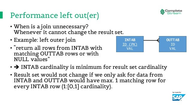 Performance left out(er) • When is a join unnecessary? Whenever it cannot change the result set. • Example: left outer joi...