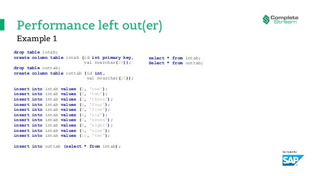 Performance left out(er) drop table intab; create column table intab (id int primary key, val nvarchar(20)); drop table ou...