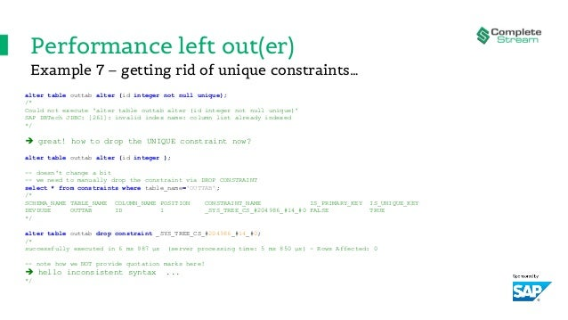 Performance left out(er) alter table outtab alter (id integer not null unique); /* Could not execute 'alter table outtab a...