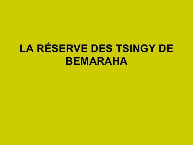 LA RÉSERVE DES TSINGY DEBEMARAHA