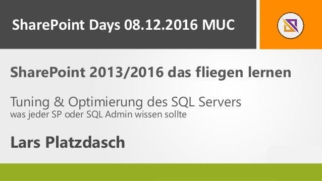 SharePoint 2013/2016 das fliegen lernen Tuning & Optimierung des SQL Servers was jeder SP oder SQL Admin wissen sollte Lar...