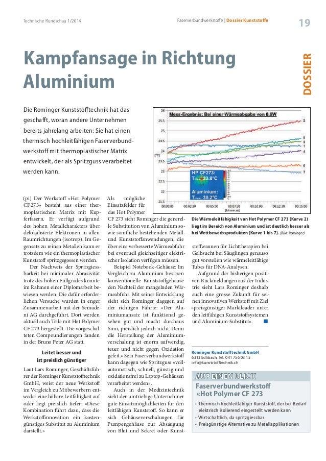 Technische Rundschau 1/2014 19 DOSSIER Faserverbundwerkstoffe | Dossier Kunststoffe Kampfansage in Richtung Aluminium Die ...