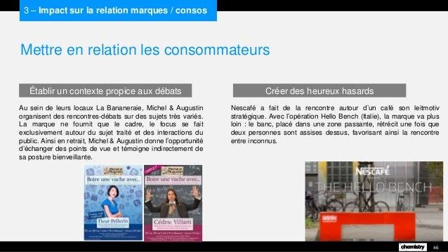 Mettre en relation les consommateurs 46 3 – Impact sur la relation marques / consos Au sein de leurs locaux La Bananeraie,...