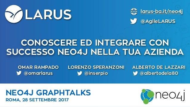 CONOSCERE ED INTEGRARE CON SUCCESSO NEO4J NELLA TUA AZIENDA NEO4J GRAPHTALKS ROMA, 28 SETTEMBRE 2017 larus-ba.it/neo4j @Ag...
