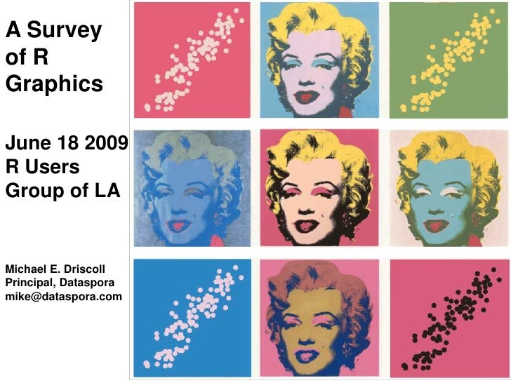 A Survey of R Graphics<br />June 18 2009<br />R Users<br />Group of LA<br />Michael E. Driscoll<br />Principal, Dataspora<...