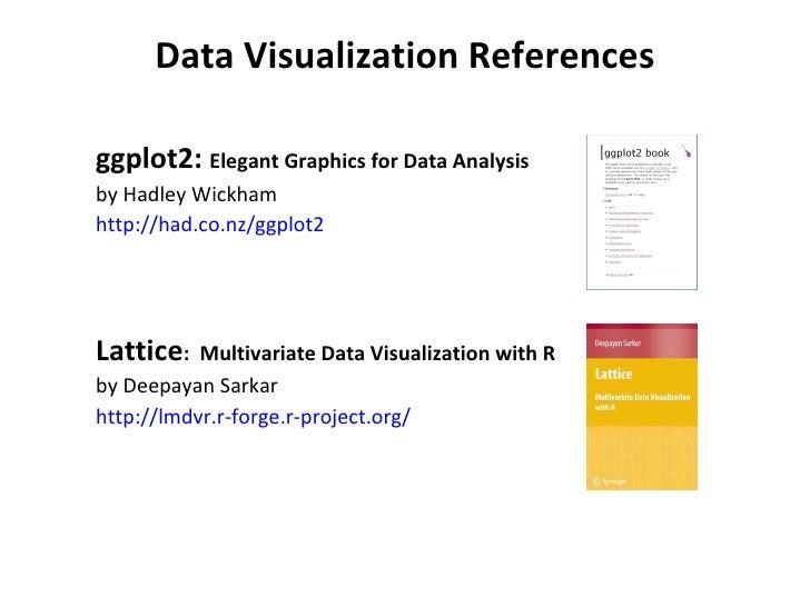 Data Visualization References <ul><ul><li>ggplot2:  Elegant Graphics for Data Analysis </li></ul></ul><ul><ul><li>by Hadle...