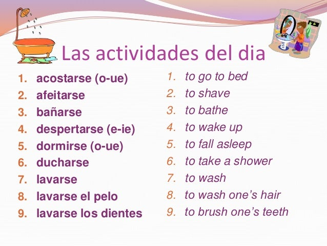 La rutina diaria verbos reflexivos
