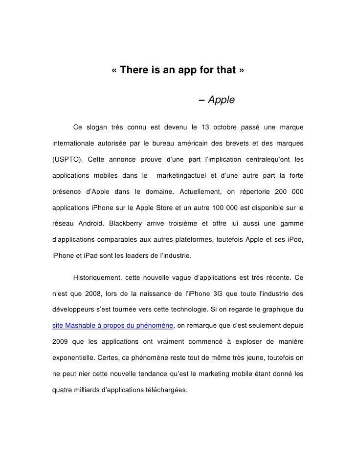 «There is an app for that»<br />            – Apple<br />Ce slogan très connu est devenu le 13 octobre passé une marque ...