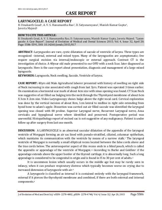 DOI: 10.14260/jemds/2015/817 CASE REPORT J of Evolution of Med and Dent Sci/ eISSN- 2278-4802, pISSN- 2278-4748/ Vol. 4/ I...