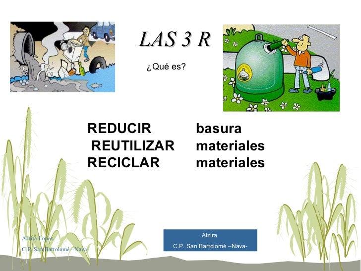 LAS 3 R RECICLAR REDUCIR REUTILIZAR