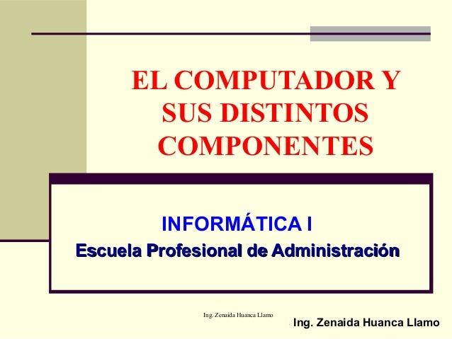 Ing. Zenaida Huanca Llamo EL COMPUTADOR Y SUS DISTINTOS COMPONENTES INFORMÁTICA I Escuela Profesional de AdministraciónEsc...