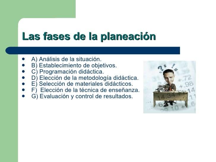 Las fases de la planeación <ul><li>A) Análisis de la situación.  </li></ul><ul><li>B) Establecimiento de objetivos.  </li>...