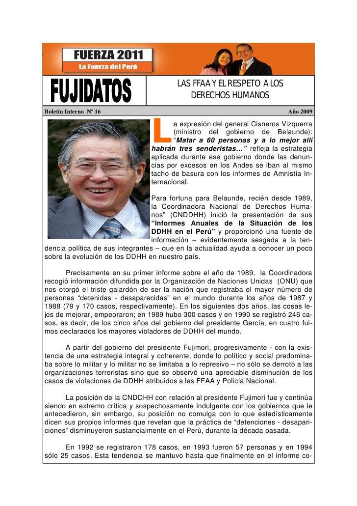 LAS FFAA Y EL RESPETO A LOS                                                DERECHOS HUMANOS Boletín Interno Nº 16         ...
