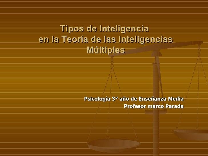 Tipos de Inteligencia  en la Teoría de las Inteligencias Múltiples Psicología 3° año de Enseñanza Media Profesor marco Par...
