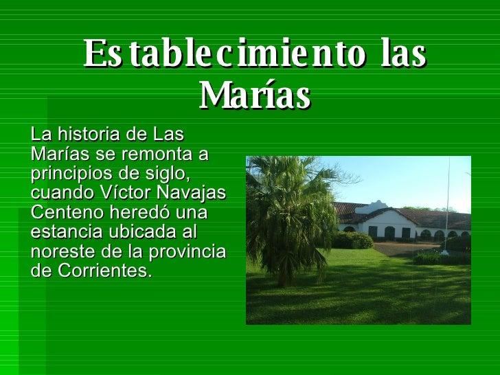 Establecimiento las Marías La historia de Las Marías se remonta a principios de siglo, cuando Víctor Navajas Centeno hered...