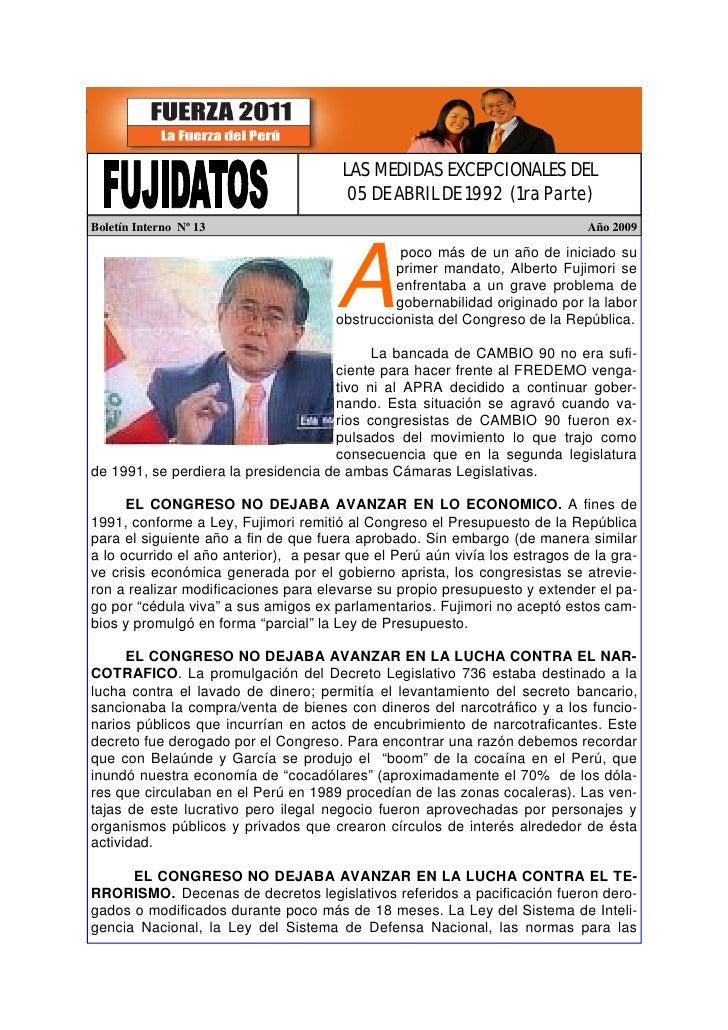 LAS MEDIDAS EXCEPCIONALES DEL                                         05 DE ABRIL DE 1992 (1ra Parte) Boletín Interno Nº 1...