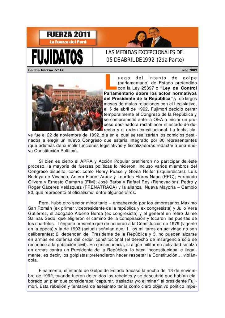 LAS MEDIDAS EXCEPCIONALES DEL                                        05 DE ABRIL DE 1992 (2da Parte) Boletín Interno Nº 14...