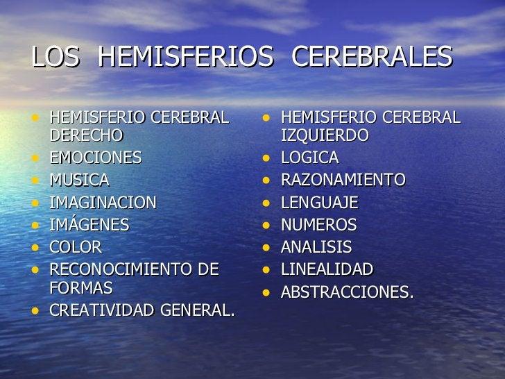 LOS  HEMISFERIOS  CEREBRALES <ul><li>HEMISFERIO CEREBRAL DERECHO </li></ul><ul><li>EMOCIONES </li></ul><ul><li>MUSICA </li...