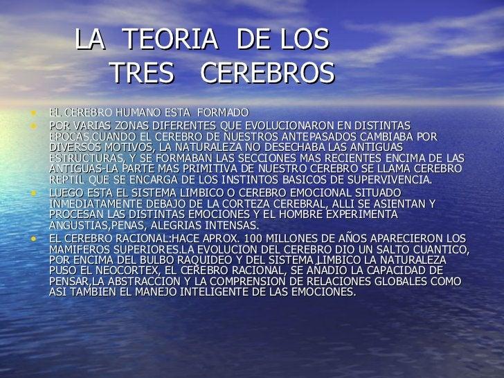 LA  TEORIA  DE LOS    TRES  CEREBROS <ul><li>EL CEREBRO HUMANO ESTA  FORMADO </li></ul><ul><li>POR VARIAS ZONAS DIFERENTES...
