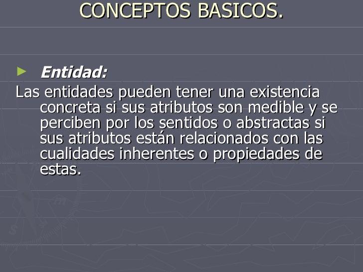 CONCEPTOS BASICOS. <ul><li>Entidad: </li></ul><ul><li>Las entidades pueden tener una existencia concreta si sus atributos ...