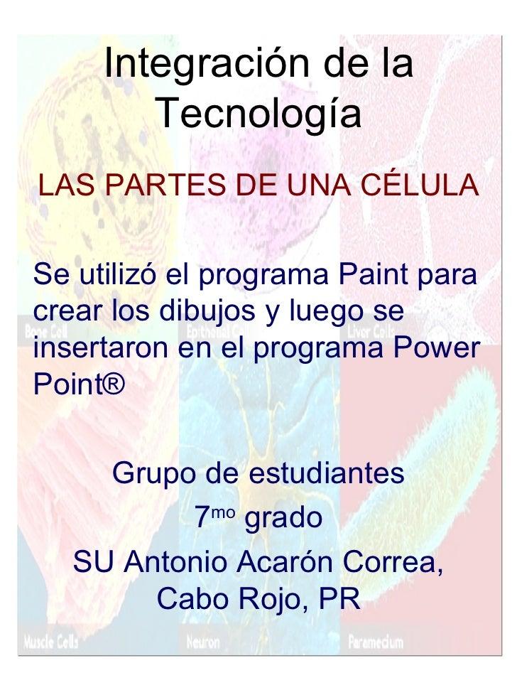 Integración de la Tecnología <ul><li>LAS PARTES DE UNA CÉLULA </li></ul><ul><li>Se utilizó el programa Paint para crear lo...