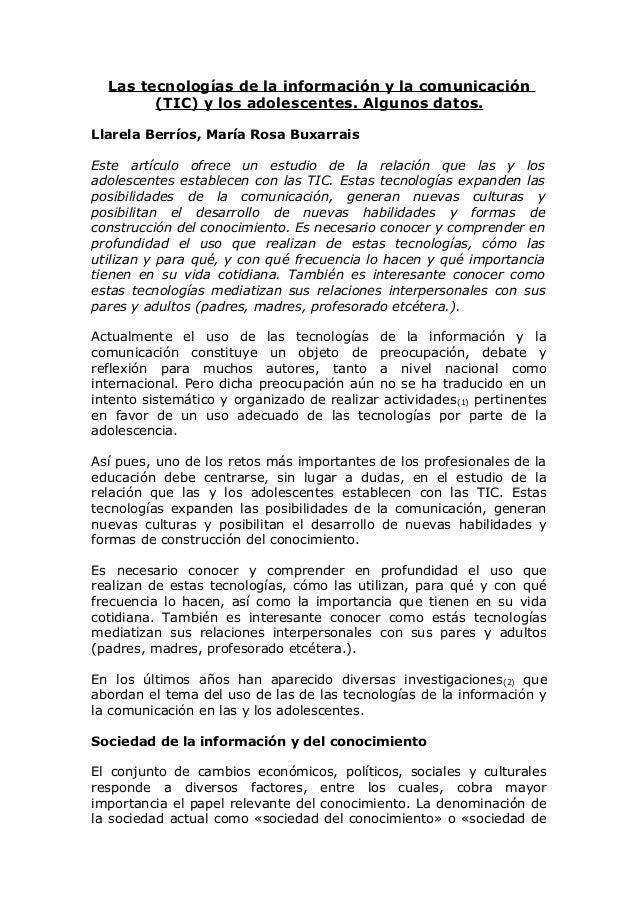 Las tecnologías de la información y la comunicación (TIC) y los adolescentes. Algunos datos. Llarela Berríos, María Rosa B...