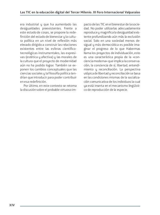 XIV Las TIC en la educación digital del Tercer Milenio. III Foro Internacional Valparaíso era industrial y que ha aumentad...