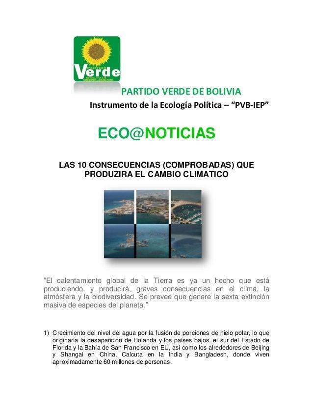 """PARTIDO VERDE DE BOLIVIA Instrumento de la Ecología Política – """"PVB-IEP""""  ECO@NOTICIAS LAS 10 CONSECUENCIAS (COMPROBADAS) ..."""
