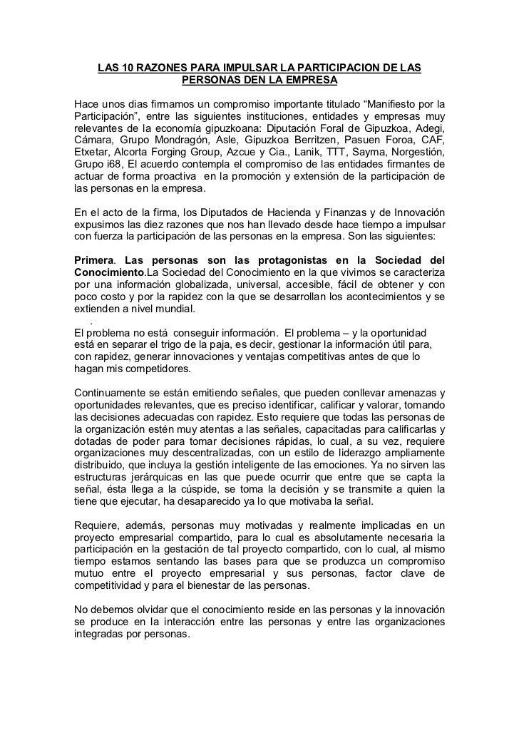 LAS 10 RAZONES PARA IMPULSAR LA PARTICIPACION DE LAS                  PERSONAS DEN LA EMPRESAHace unos dias firmamos un co...