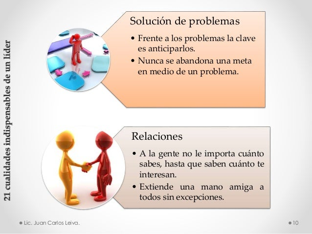Solución de problemas • Frente a los problemas la clave es anticiparlos. • Nunca se abandona una meta en medio de un probl...