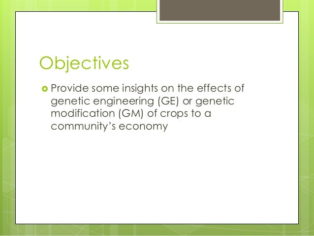 GE/GM of Crops from an Economic Standpoint