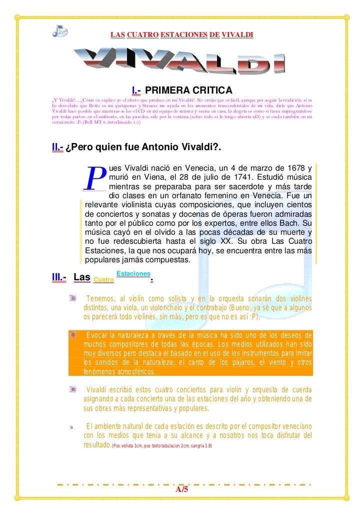 LAS CUATRO ESTACIONES DE VIVALDI                                         I.- PRIMERA CRITICA¿Y Vivaldi?.....¿Cómo os expli...