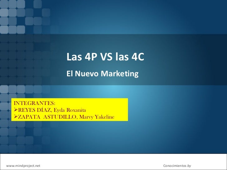 Las 4P VS las 4C El Nuevo Marketing <ul><li>INTEGRANTES:  </li></ul><ul><li>REYES DÍAZ, Eyda Roxanita </li></ul><ul><li>ZA...