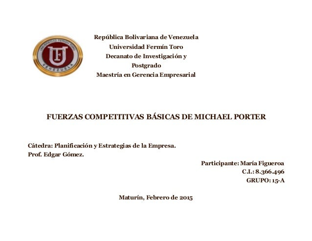República Bolivariana de Venezuela Universidad Fermín Toro Decanato de Investigación y Postgrado Maestría en Gerencia Empr...