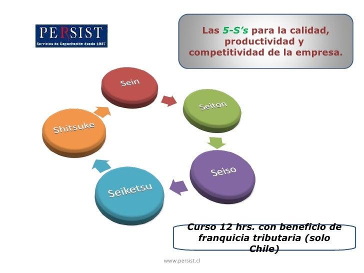 Curso 12 hrs. con beneficio de franquicia tributaria (solo Chile) www.persist.cl Las  5-S's  para la calidad, productivida...